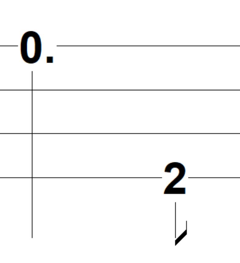 afbeelding van een toon van anderhalve tel gevolgd door eentje van een halve tel.