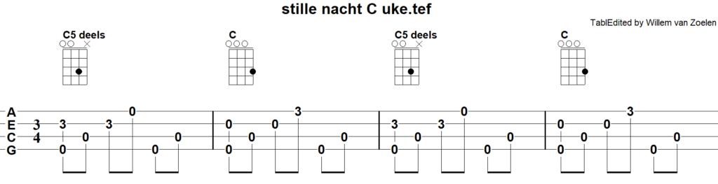 Afbeelding bij: Wat is TAB en hoe werkt het. een stukje muziek voor ukelele / ukulele uitgeschreven in TAB.