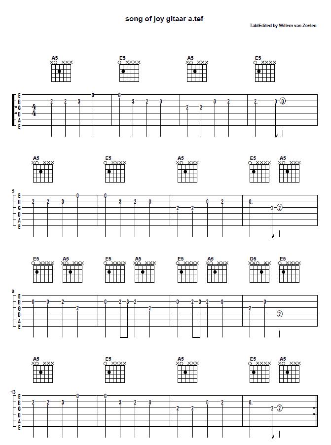 afbeelding TAB van Song of Joy met powerakkoorden voor elektrische gitaar