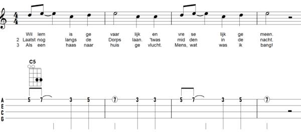afbeelding bladmuziek ukelele liedje Willem is gevaarlijk