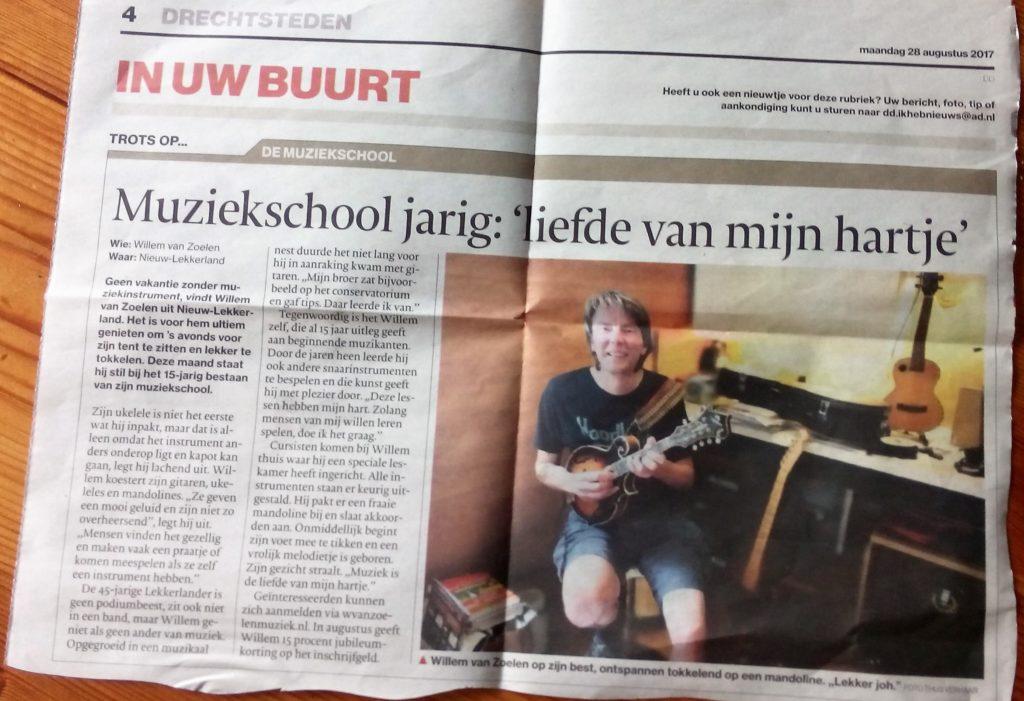 Contact met Willem van Zoelen Muziek: Afbeelding van een krantenartikel over 15 jarig jubileum van mijn muziekschool.