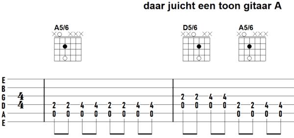 afbeelding bij gitaartab daar juicht een toon akkoorden uitgewerkt