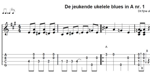 afbeelding de jeukende ukelele blues tab en noten