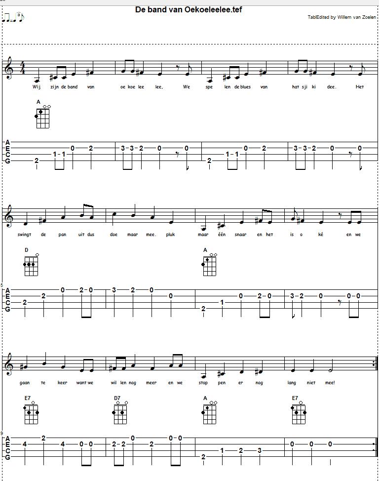 Afbeelding liedje de band van oekoeleelee bij meer op de ukelele leren