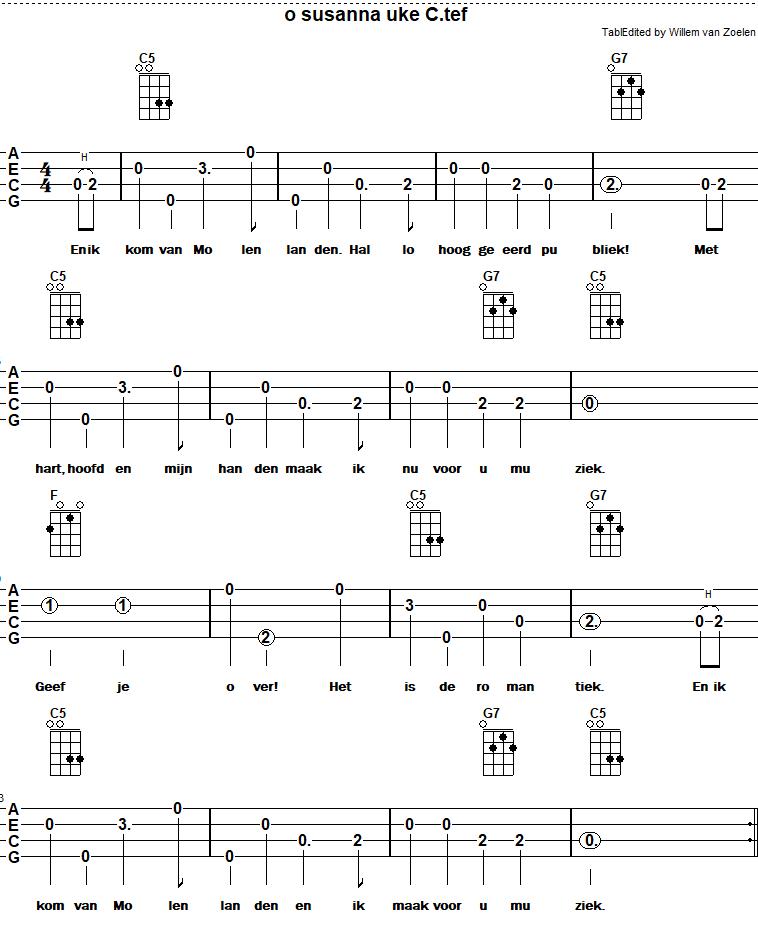 Afbeelding liedje o susanna  of volkslied van molenlanden bij meer ukelele akkoorden