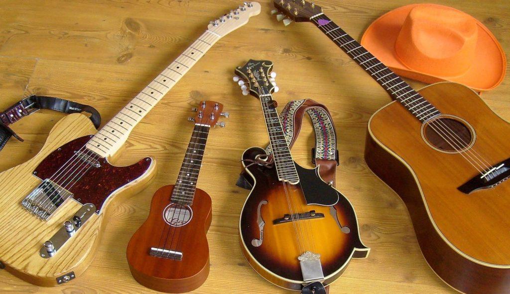 afbeelding: muziekles op elektrisch gitar, akoestisch gitaar, ukelele en mandoline.