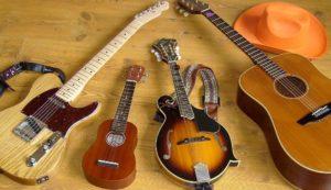 afbeelding: muziekles op elektrisch gitaar, akoestisch gitaar, ukelele en mandoline.