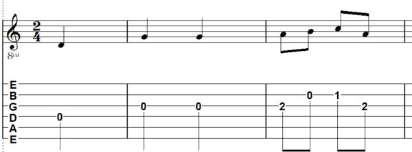 afbeelding Wilhelmus melodie gitaar G